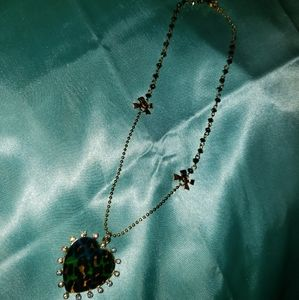 Betsey Johnson Heart and Leopard Print Necklace